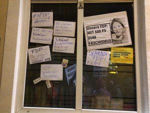 Schaufenster der FDP in der Violenstraße
